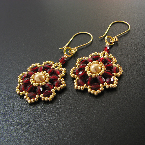 Beadwoven Garnet Red Flower Blossom Earrings with Swarovski Pearl