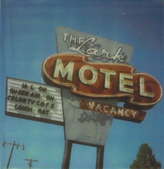 the Lark Motel (suz or sooze) Tags: california color film sign sx70 tv rat air queen 600 ia l vacancy comm willits cofe thelarkmotel roidweek2010 scannedcropped