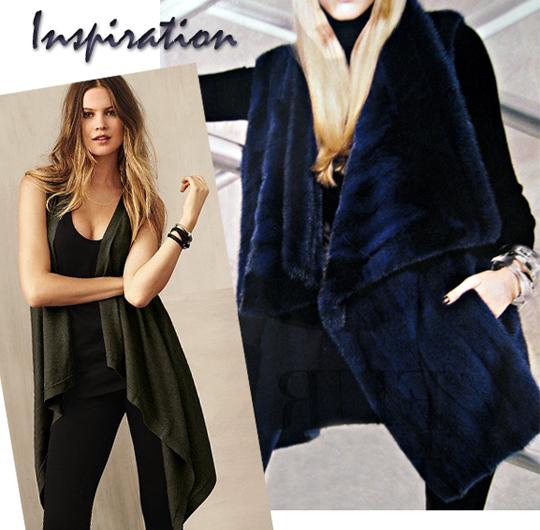 Asymmetrical Faux Fur Vest DIY - inspiration + Michael Kors navy blue fur vest + victoria's secret knit asymmetrical vest