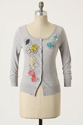 Anthropologie Scribbled Bouquet Cardigan