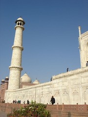 Wing of Taj Mahal (peggyhr) Tags: blue sky people india white tower tajmahal agra marble visitors domes thepritzkerprizeonflickr peggyhr