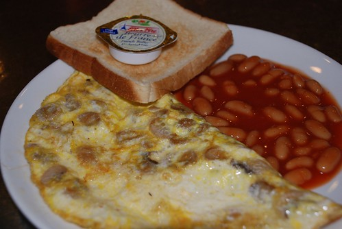 Chicken omellete with beans
