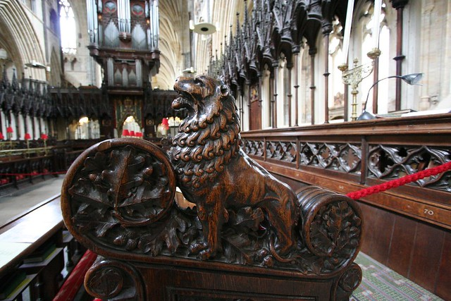 lion bench-end, exeter cathedral