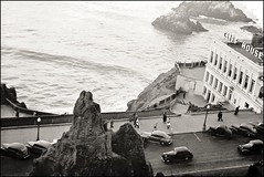 1940 April - The Cliff House in San Francisco, California.  Built in 1909, and preserved as part of the Golden Gate National Recreation Area.  This photograph of the third of the three Cliff Houses was taken by my wife's grandfather, Gonzalo Legorreta