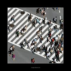 People crossing a sidewalk