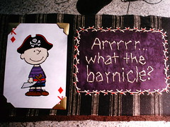 arrrrrr...what the barnicle? (shebrews) Tags: halloween collage embroidery peanuts stitchery