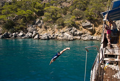 Mark diving into the Mediterranean