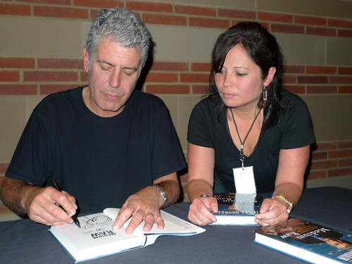 Bourdain signing my books!