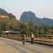 Cycling across the bridge, Nong Kiaow
