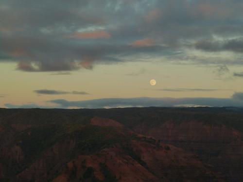 The Moon over Waimea Canyon