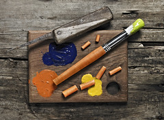 The starving artist (brandon.latcham) Tags: blue stilllife macro artist creative knife carrot chopped conceptual paintbrush choppingboard oarnge brandonlatcham starveing isabelmirasretouching