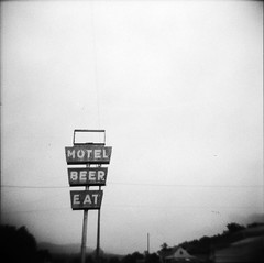 Motel Beer Eat (birdcage) Tags: blackandwhite bw beer sign mediumformat motel eat westvirginia squareformat imperial620 boxcamera