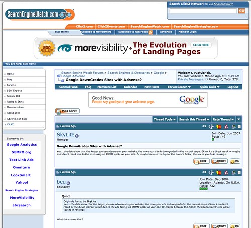 Search Engine Watch New Design 7-23-07