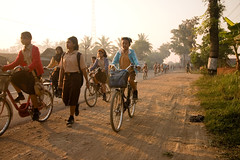 Java by Bicycle - School Commute (Jeff_Werner) Tags: travel school bike bicycle kids sunrise children indonesia cycling java ride cycle commute jawa