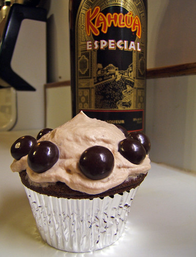 Kahlua and Cream cupcake with chocolate covered espresso beans