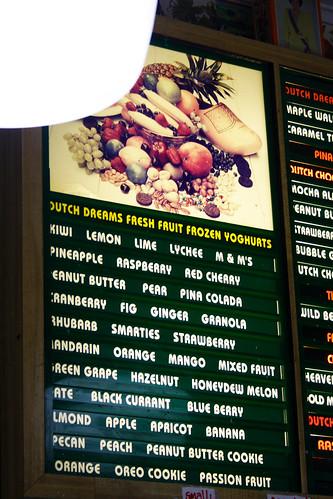 frozen yogurt menu
