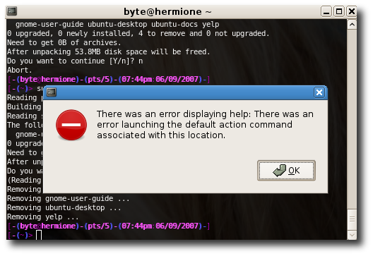 removing yelp didn't help in gnome