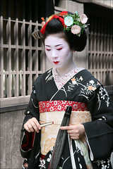 M A M E T E R U : Asagao (mboogiedown) Tags: street travel summer black girl beauty japan asian japanese asia traditional culture maiko geiko geisha kimono obi gion tradition ro teahouse noren ochaya asagao okobo hassaku hanakanzashi oshiroi kobu discoverkyoto mameteru kuromontsuki