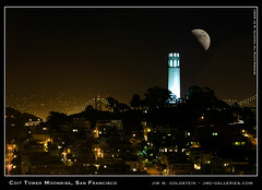 Coit Tower Moonrise, San Francisco II (jimgoldstein) Tags: sanfrancisco moon landscape photo bravo cityscape coittower baybridge telegraphhill lunar supershot instantfave jmggalleries anawesomeshot jimmgoldstein diamondclassphotographer flickrdiamond