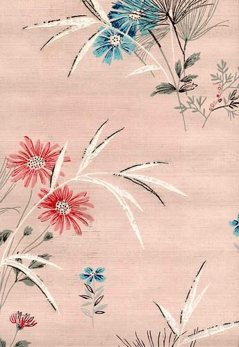 vintage floral wallpaper. Mid century vintage wallpaper