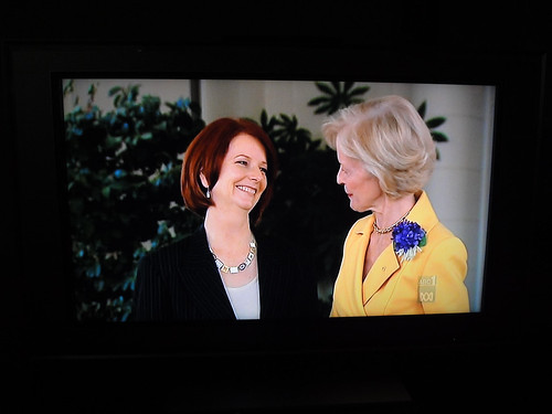 Julia Gillard and Quentin Bryce on tv