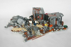 District 9: The Eviction (tin) Tags: trash rust lego district nine alien 9 bap aliens number prototype scum shanty shack ba heap diorama slum prawn proto moc hac district9 brickarms wikus