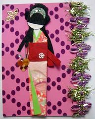 ATC436 - Kaori (tengds) Tags: pink green atc gold purple maroon stickers kimono obi ribbon origamipaper papercraft japanesepaper ningyo handmadecard decorativepaper chiyogami japanesepaperdoll nailsticker origamidoll tengds japanesepatternprint