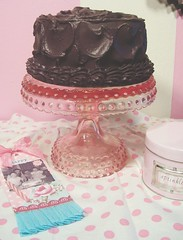 Faux Dark Chocolate cake for Rosanna! (holiday_jenny) Tags: pink food cake collage vintage dark baking aqua sweet handmade chocolate tag fake bakery faux kitchenswap
