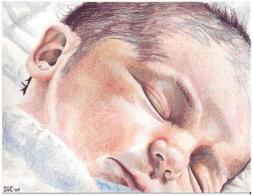 Colored pencil drawing entitled Clara, Newborn
