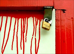 Dripping paint (Steve-h) Tags: wood ireland red dublin white paint lock dripping sloppy hasp baileathacliath mywinners abigfave artlibre colorphotoaward aplusphoto