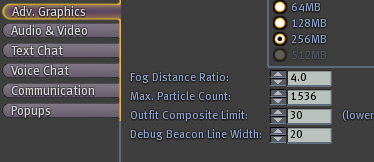 Debug Beacon Line Width: in Advanced Graphics
