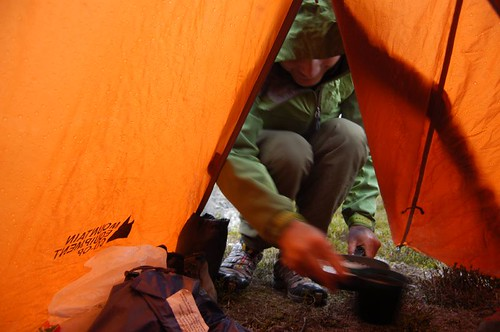 Dave entering the tent with tea
