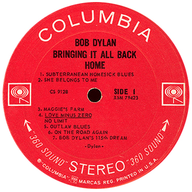 Columbia Records label 1965