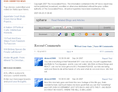 AOL News Beta Comments Detail Screenshot - 09/20/07