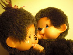 Don't be sad. Us monkeys gotta stick together! (8 Skeins of Danger) Tags: happy monkey furry sad fuzzy monchhichi 8skeinsofdanger