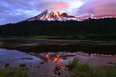 First Light in the Lenticular Clouds- Front Page Explore (Deby Dixon) Tags: morning mountain lake snow reflection nature clouds sunrise landscape photography nationalpark nikon explore glaciers viewpoint mtrainier frontpage lenticular deby allrightsreserved 2010 bracketing mtrainiernationalpark reflectionlakes naturephotographer debydixon debydixonphotographry