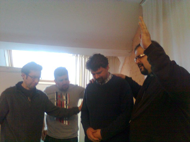 Fr.Ebenezer Praying for Jan Wisse, leader of OM Belgium