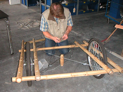 USED Bamboo being built (Carry Freedom) Tags: bicycle diy bamboo trailer plans