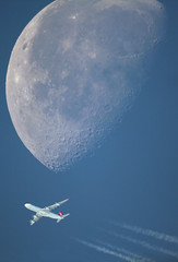 Moon shot (jpro747) Tags: travel blue sky moon high contrail traffic path altitude air flight jet clear telescope airbus airlines overhead vapour turkish a340 flyby trk hava telescopic a343 inthesky tk2 overflight yollar thy2 jpro747