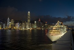 Star Cruise Pisces and Hong Kong skyline in twilight