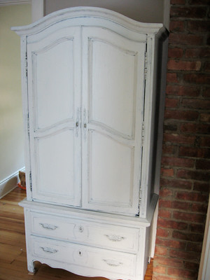 armoire after paint in hall
