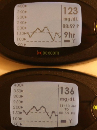 Dexcom 3 and Dexcom 7 STS nine-hour screens