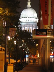 Madison Nights (Menacing Buddha) Tags: art wisconsin night downtown madison statestreet statecapitol isthmus madisonmuseumofcontemporaryart frescorestaurant menacingbuddha neilstechschulte