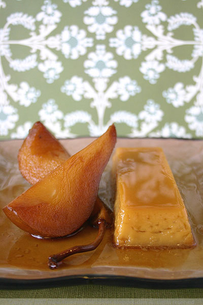 Maple Flan with Pears