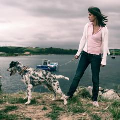 de perfiles (Jorge Miente) Tags: dog pet animal spain san barco chica martin perro jorge ria cantabria barquito suances miente posado puskas jorgemiente
