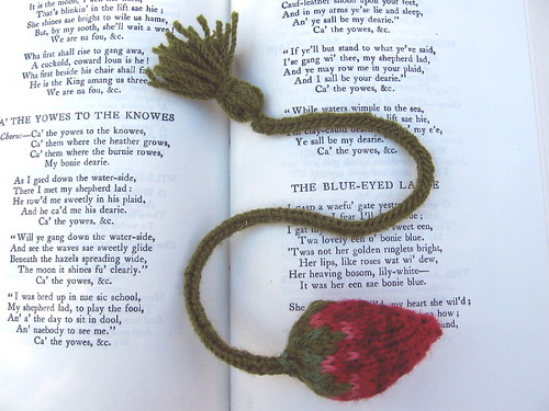 knitted strawberry bookmark
