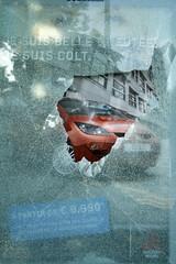 Glass ad (jepoirrier) Tags: broken glass break ad busshelter vandalism liege colt mitsubishi urbanblight trashbit