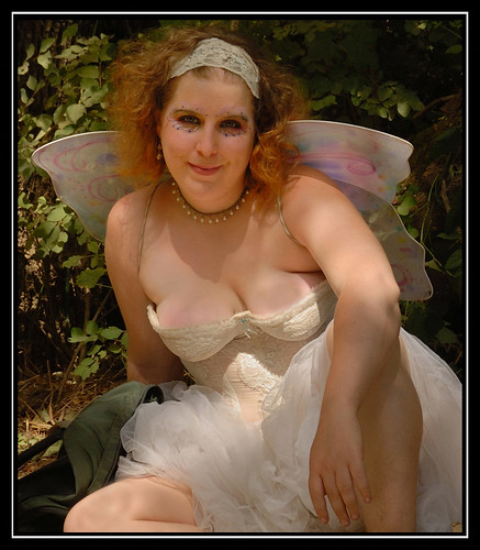 Sexy woman at Oregon Country Fair showing cleavage