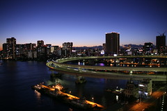Tokyo Bay (i_plus) Tags: ocean bridge blue light sunset sea sky building beautiful car japan night tokyo bay harbor boat rainbow twilight highway ship view purple minato