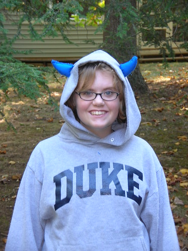 Blue Devil With A Grey Hoodie On